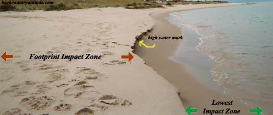 hike below the high water mark to lessen the impact of footprints on the beach